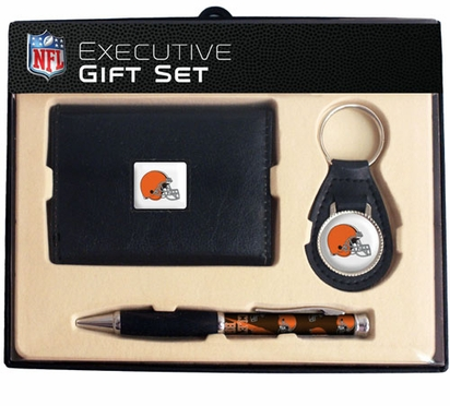 Cleveland Browns Trifold Wallet Key Fob and Pen Gift Set