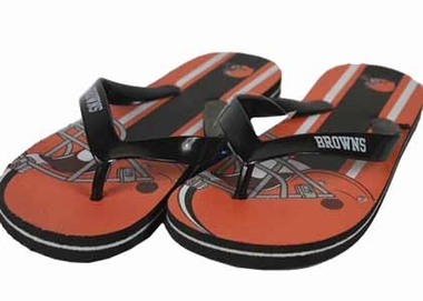Cleveland Browns Unisex Big Logo Flip Flops - Medium