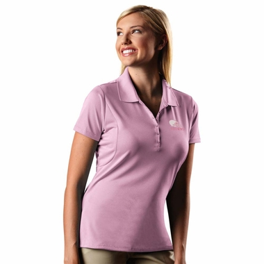 Cleveland Browns Womens Pique Xtra Lite Polo Shirt (Color: Pink)