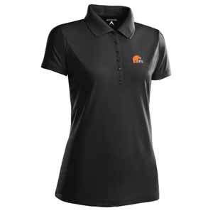 Cleveland Browns Womens Pique Xtra Lite Polo Shirt (Team Color: Black) - Large