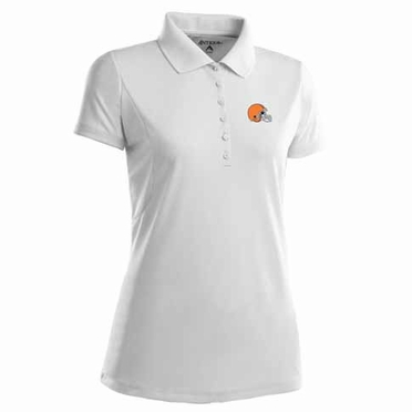 Cleveland Browns Womens Pique Xtra Lite Polo Shirt (Color: White)