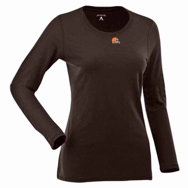 Cleveland Browns Womens Relax Long Sleeve Tee (Team Color: Brown)