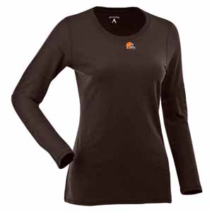 Cleveland Browns Womens Relax Long Sleeve Tee (Team Color: Brown) - Medium