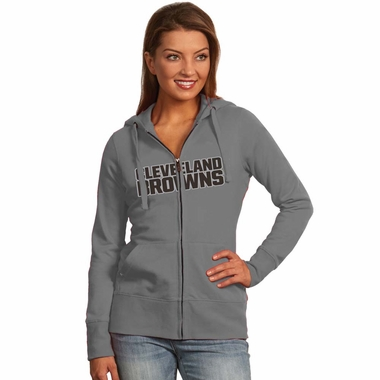 Cleveland Browns Applique Womens Zip Front Hoody Sweatshirt (Color: Gray)