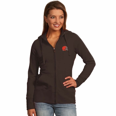 Cleveland Browns Womens Zip Front Hoody Sweatshirt (Team Color: Brown)