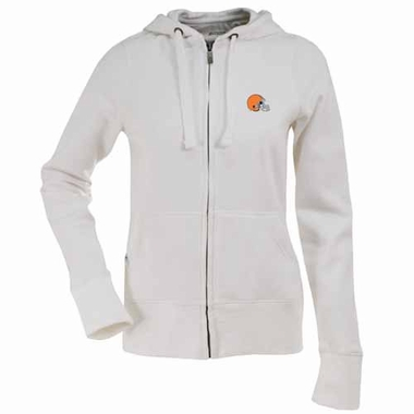 Cleveland Browns Womens Zip Front Hoody Sweatshirt (Color: White)