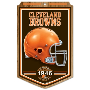 "Cleveland Browns Wood Sign - 11""x17"" Established Design"