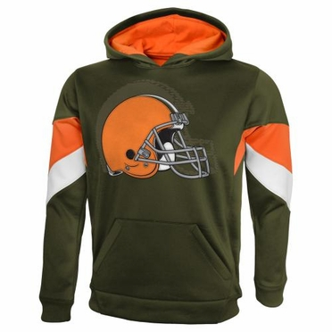 """Cleveland Browns YOUTH NFL """"The Edge"""" Pullover Hooded Sweatshirt - Brown"""