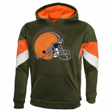 "Cleveland Browns YOUTH NFL ""The Edge"" Pullover Hooded Sweatshirt - Brown"