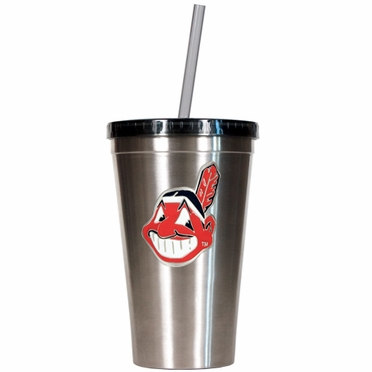 Cleveland Indians 16oz Stainless Steel Insulated Tumbler with Straw