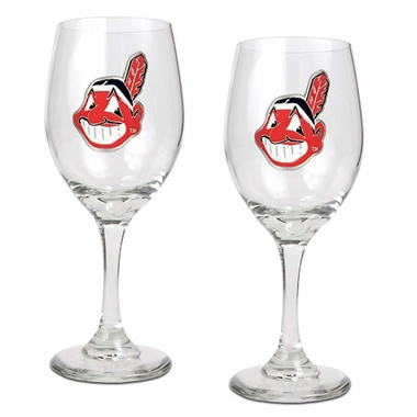 Cleveland Indians 2 Piece Wine Glass Set
