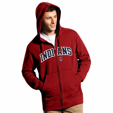 Cleveland Indians Mens Applique Full Zip Hooded Sweatshirt (Team Color: Red)