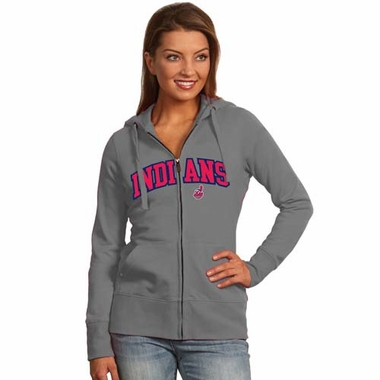 Cleveland Indians Applique Womens Zip Front Hoody Sweatshirt (Color: Gray)
