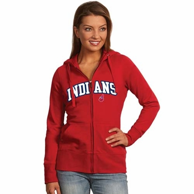 Cleveland Indians Applique Womens Zip Front Hoody Sweatshirt (Team Color: Red)