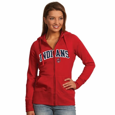 Cleveland Indians Applique Womens Zip Front Hoody Sweatshirt (Color: Red)