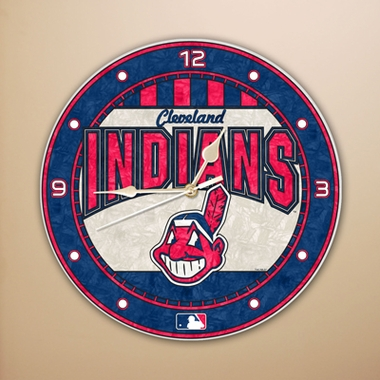 Cleveland Indians Art Glass Clock