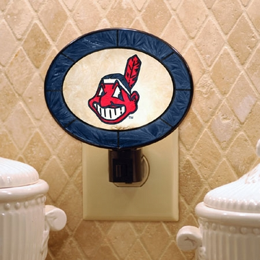 Cleveland Indians Art Glass Night Light