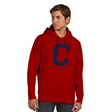 Cleveland Indians Big Logo Mens Signature Hooded Sweatshirt (Team Color: Red)