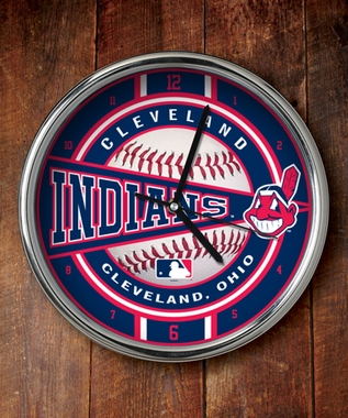 Cleveland Indians Chrome Clock