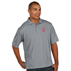 Cleveland Indians Mens Pique Xtra Lite Polo Shirt (Color: Gray) - Large