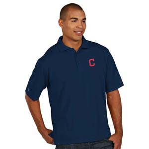 Cleveland Indians Mens Pique Xtra Lite Polo Shirt (Color: Navy) - Large