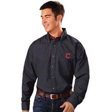 Cleveland Indians Mens Esteem Button Down Dress Shirt (Team Color: Navy)