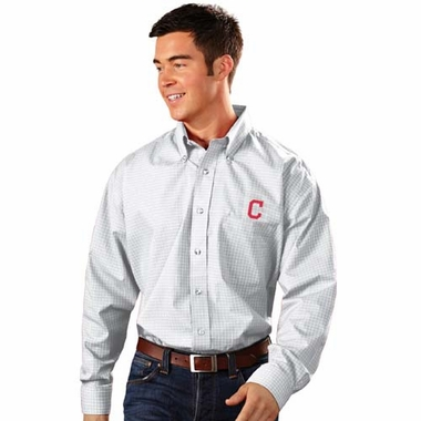 Cleveland Indians Mens Esteem Check Pattern Button Down Dress Shirt (Color: White)