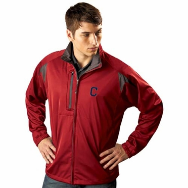 Cleveland Indians Mens Highland Water Resistant Jacket (Team Color: Red)