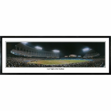 Cleveland Indians Last Night at the Stadium Framed Panoramic Print