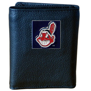 Cleveland Indians Leather Trifold Wallet (F)