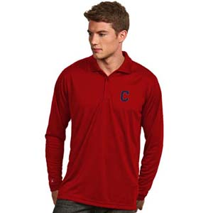 Cleveland Indians Mens Long Sleeve Polo Shirt (Team Color: Black) - Small