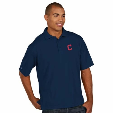 Cleveland Indians Mens Pique Xtra Lite Polo Shirt (Team Color: Navy)