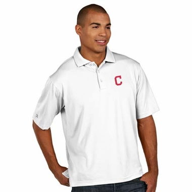 Cleveland Indians Mens Pique Xtra Lite Polo Shirt (Color: White)