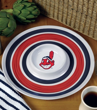 Cleveland Indians Plastic Chip and Dip Plate