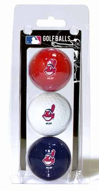 Cleveland Indians Set of 3 Multicolor Golf Balls