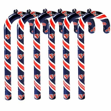 Cleveland Indians Set of 6 Candy Cane Ornaments