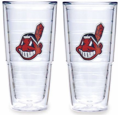 "Cleveland Indians Set of TWO 24 oz. ""Big T"" Tervis Tumblers"