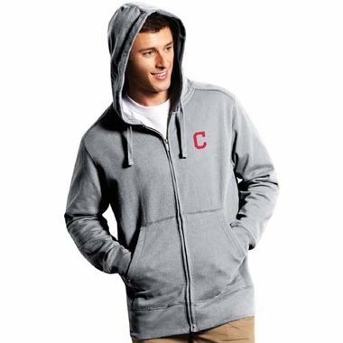 Cleveland Indians Mens Signature Full Zip Hooded Sweatshirt (Color: Gray)