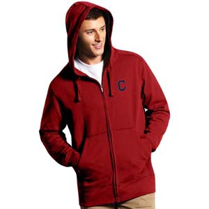 Cleveland Indians Mens Signature Full Zip Hooded Sweatshirt (Team Color: Red) - Medium