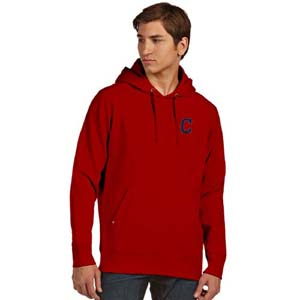 Cleveland Indians Mens Signature Hooded Sweatshirt (Team Color: Red) - Small