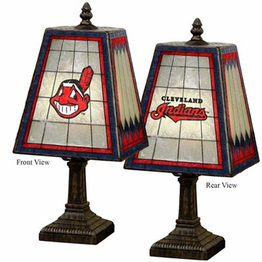 Cleveland Indians Small Art Glass Lamp