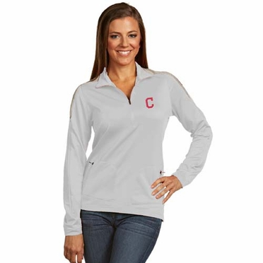 Cleveland Indians Womens Succeed 1/4 Zip Performance Pullover (Color: White)