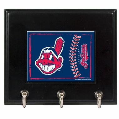 Cleveland Indians Wooden Keyhook Rack