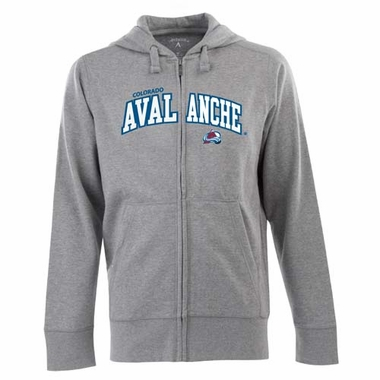 Colorado Avalanche Mens Applique Full Zip Hooded Sweatshirt (Color: Gray)