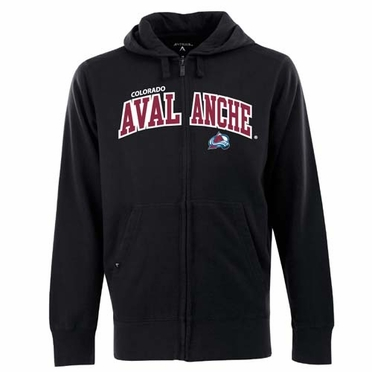 Colorado Avalanche Mens Applique Full Zip Hooded Sweatshirt (Team Color: Black)