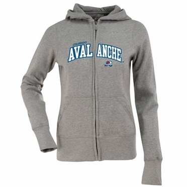 Colorado Avalanche Applique Womens Zip Front Hoody Sweatshirt (Color: Gray)