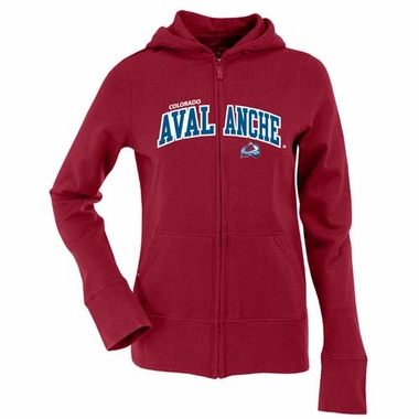 Colorado Avalanche Applique Womens Zip Front Hoody Sweatshirt (Team Color: Maroon)