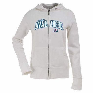 Colorado Avalanche Applique Womens Zip Front Hoody Sweatshirt (Color: White)