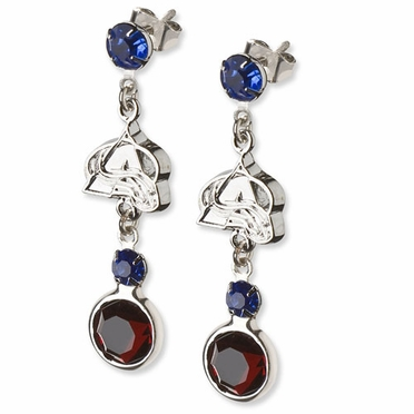 Colorado Avalanche Crystal Logo Dangle Earrings