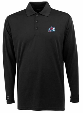 Colorado Avalanche Mens Long Sleeve Polo Shirt (Team Color: Black)